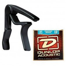 Dunlop 83CBA 12 AC Trigger Acoustic Capo Plus Strings