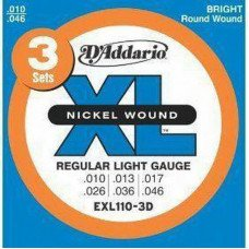 D'Addario EXL110-3D Xl Regular Light 3 Set