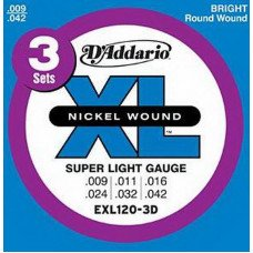 D'Addario EXL120-3D Xl Super Light 09-42 - 3 Set