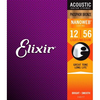 Elixir 16077 Nanoweb Phosphor Bronze Light-Medium 12-56 (PB NW LM)