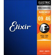 Elixir 12027 Nanoweb Nickel Plated Steel Custom Light 9-46 (EL NW CL)