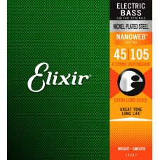 Elixir 14087 Nanoweb Coated Nickel Plated Steel Light-Medium Extra Long Scale 4-String Bass 45-105 (4S NW LM XL)