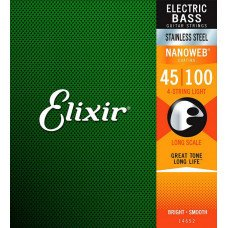 Elixir 14652 Nanoweb Coated Stainless Steel Long Scale 4-Strings Light 45-100 (SS NW 4 L 045)