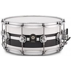 Natal Drums Cafe Racer Snare 14x6.5 Piano White Black Sparkle Double Split