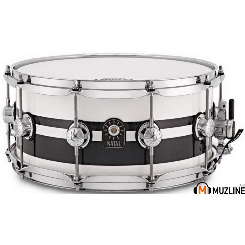 Малый барабан Natal Drums Cafe Racer Snare 14x6.5 Piano White Black Sparkle Double Split