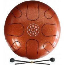 Palm Percussion Metal Tongue Drum 8 Leafs Spot Orange