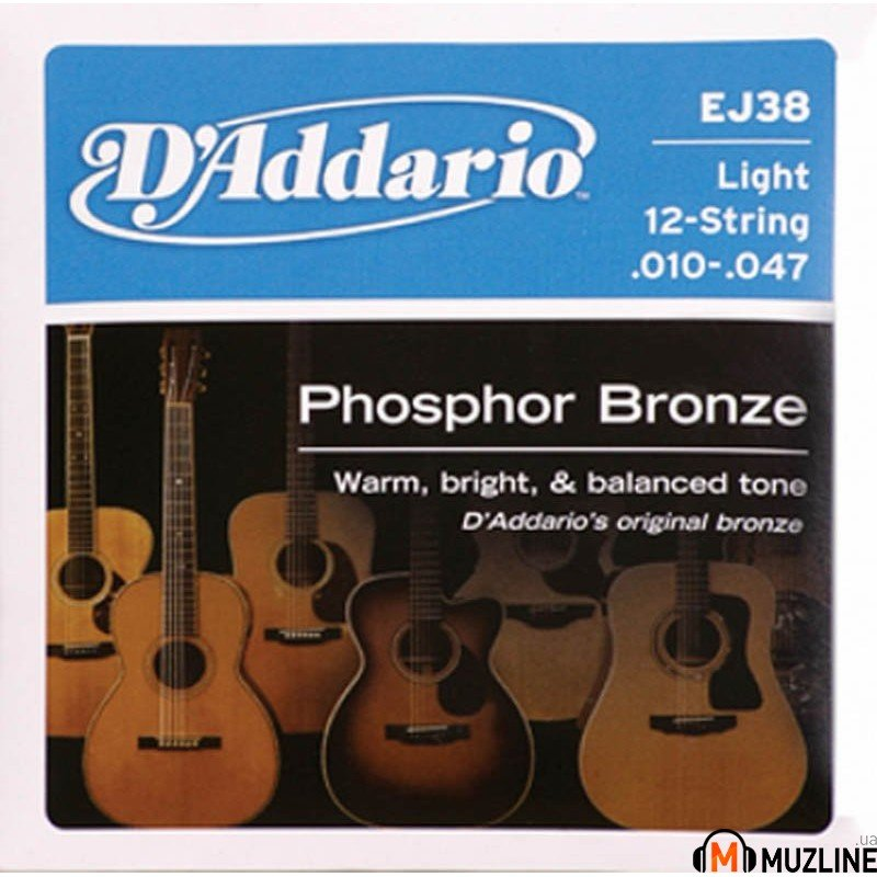 D'Addario EJ38 Phosphor Bronze Light 12-String 10-47