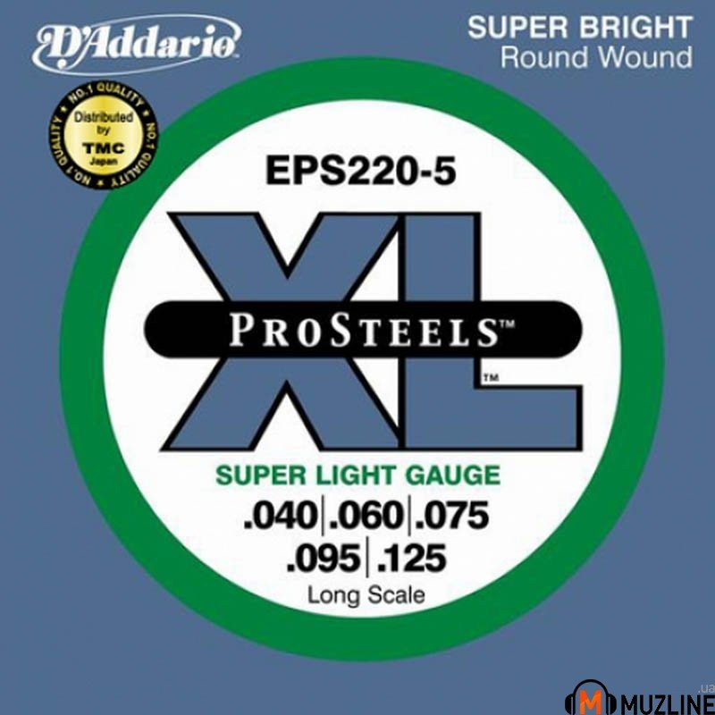 D'Addario EPS220-5 XL Pro Steels Super Light 5 String 40-125