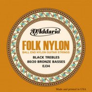D'Addario EJ34 Folk Nylon 80/20 Bronze Ball End Black Treble