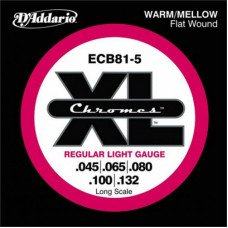 D'Addario ECB81-5 XL Chromes Flatwound Bass 5 45-132
