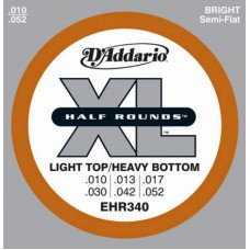 D'Addario EHR340 Xl Half Rounds Light Top Heavy Bottom 10-52