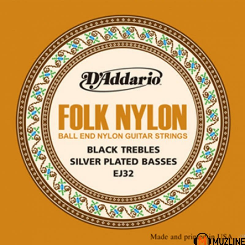 D'Addario EJ32 Folk Nylon Ball End Silver Wound Black Treble