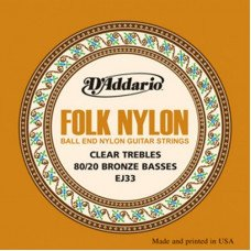 D'Addario EJ33 Folk Nylon 80/20 Bronze Ball End Clear Treble