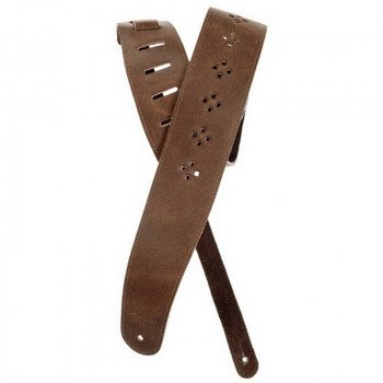 Planet Waves PW25PRF02 Vented Leather Guitar Strap, Brown Diamonds
