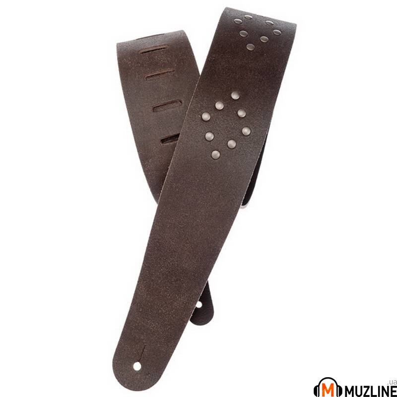Planet Waves PW25VNRD01DX Blasted Leather Guitar Strap, Brown with Brass Rivets