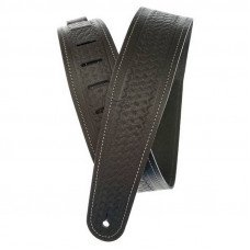 Planet Waves PW25WSTB00 Basket Weave Embossed Leather Guitar Strap, Black