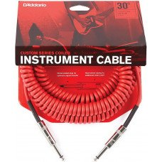 D'Addario PW-CDG-30RD Coiled Instrument Cable - Red