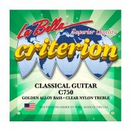 La Bella C750 Criterion Classical Guitar, Clear Nylon, Golden Alloy