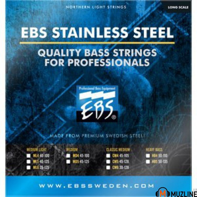 EBS SS-ML 6-strings (25-125) Stainless Steel (SS-ML 5(40-125) + SS-025)