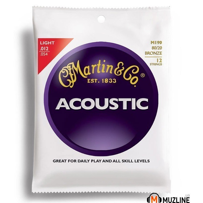 Martin M190 Traditional Acoustic 80/20 Bronze Light 12-String (12-54)
